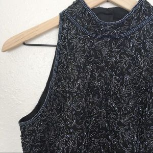 Vintage silk beaded sleeveless blouse